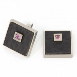 Ohrsteckerset Weissgold Saphir mit Einhänger in Palladium und Carbon