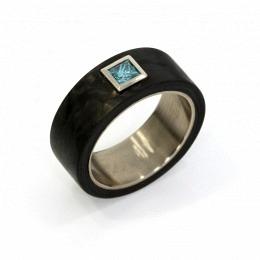 Solitär Weissgold Carbon Diamant